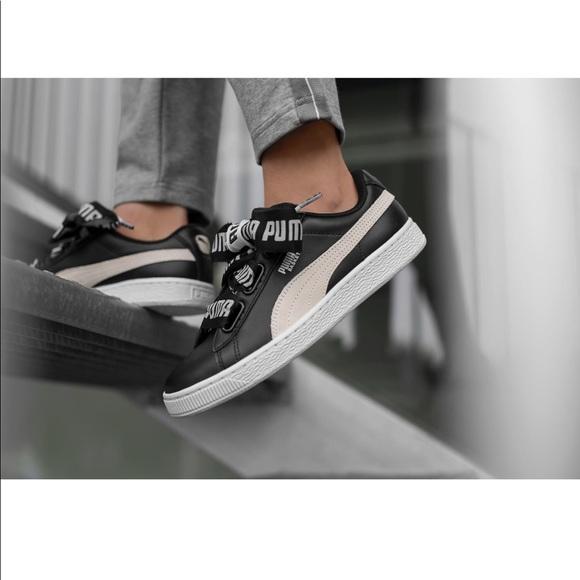 c2c1f2d2808c PUMA Basket Heart DE Black   White Shoes. M 5a755d8a077b97d529d4f621